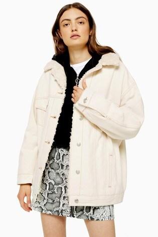 Topshop Cream Borg Coat