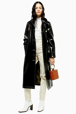 where to buy full range of specifications various styles Topshop Contrast Vinyl Trench