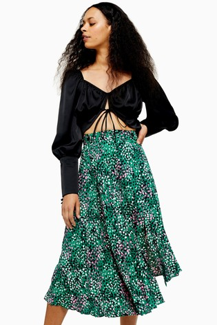 Topshop Petite Painted Spot Pleat Midi Skirt