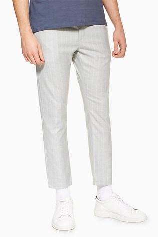Topman Grey Skinny Stripe Trousers