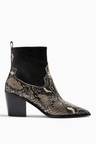 Topshop Wide Fit Bliss Snake Western Boots