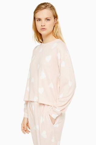 Topshop Loungewear Heart Print Sweater