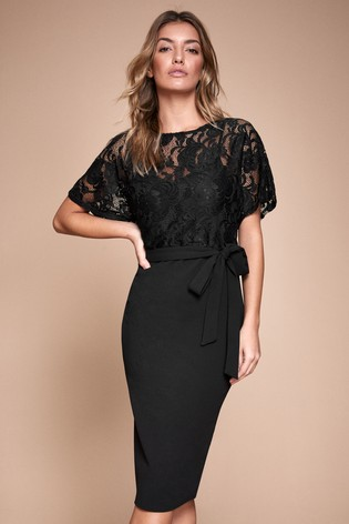 Lipsy Lace Top Self Tie Bodycon Dress