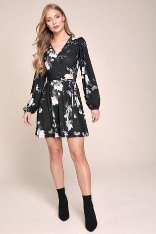 Lipsy Monochrome Long Sleeve Wrap Dress