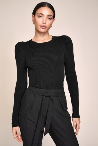 Lipsy Black 1 Tailored Elasticated Waist Tapered Trousers