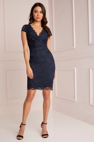 Lipsy Blue Short Sleeve Lace Bodycon Dress