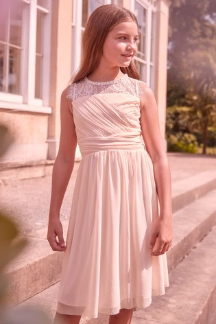 Lipsy Girl Pink Embellished Lace Pleated Occasion Dress