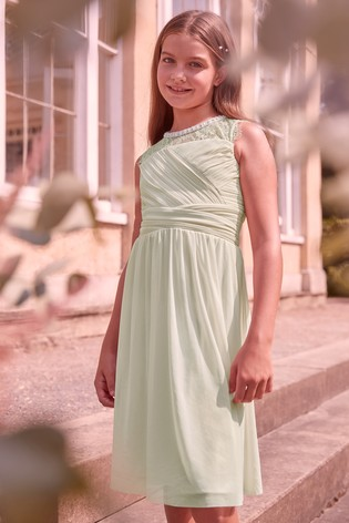 Lipsy Girl Green Embellished Lace Pleated Occasion Dress