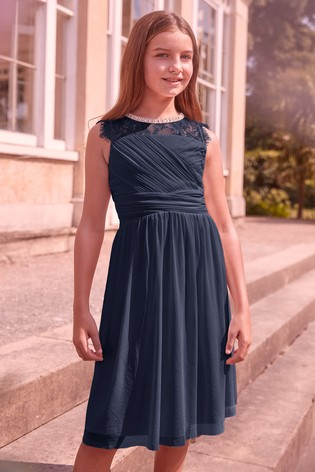 Lipsy Girl Navy Embellished Lace Pleated Occasion Dress