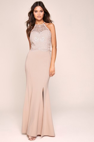 Lipsy Victoria Lace Halter Maxi Dress