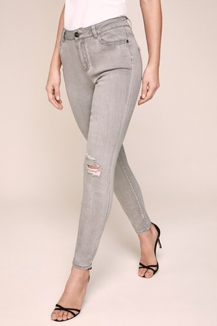 Lipsy Kate Grey Ripped Mid Rise Skinny Jean