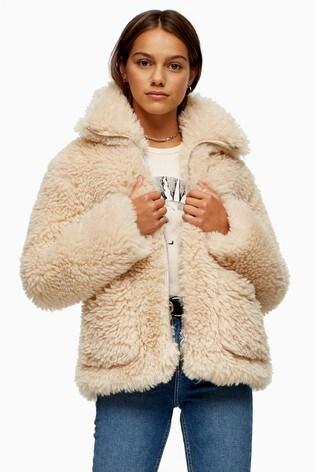 Topshop Petite Fluffy Jonas Jacket