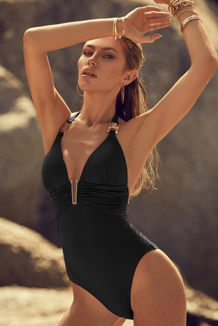 Abbey Clancy x Lipsy Black Hardwear Swimsuit