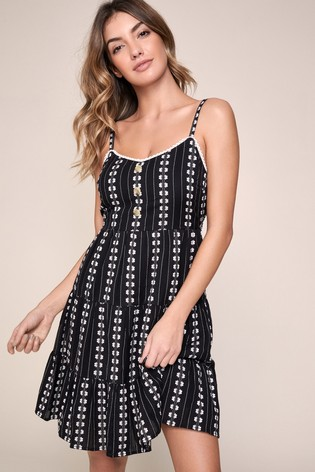 Lipsy Monochrome Tiered Embroidered Dress