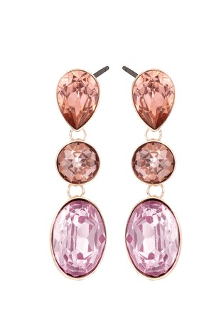 Lipsy Rose Gold Plated Multi Stone Drop Earrings