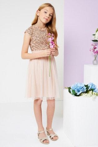 Lipsy Girl Sequin Bodice Occasion Dress