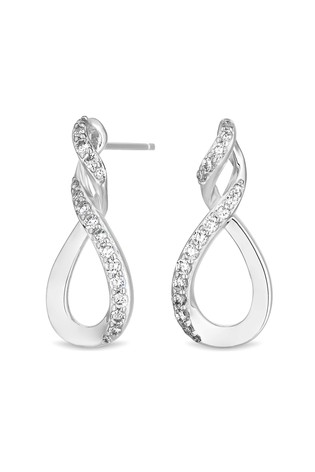 Simply Silver Sterling Silver 925 Cubic Zirconia Infinity Top Twist Drop Earring