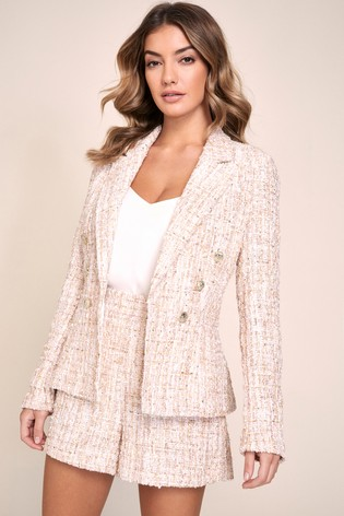 Lipsy Pink Boucle Military Tailored Button Blazer