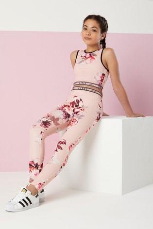 Lipsy Girl Pink Floral Active Leggings