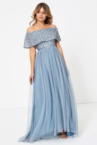 Maya Petite Embellished Bardot Maxi Dress