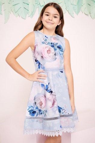 Lipsy Girl Scuba Lace Trim Dress