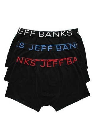 Jeff Banks Mens Black Trunks - Pack Of 3