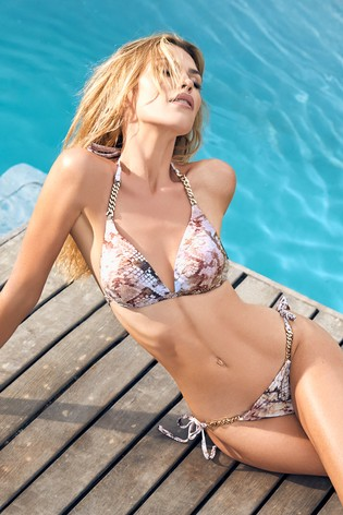 Abbey Clancy x Lipsy Snake Print Bikini Bottom