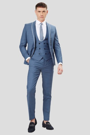 Twisted Tailor Sotherby Blue Check Trouser