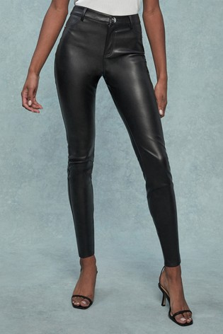 Lipsy Faux Leather Black Selena High Rise Regular Length Skinny Jeans