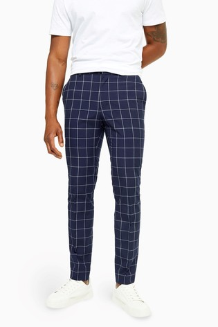 Topman Navy Windowpane Check Skinny Fit Suit Trousers