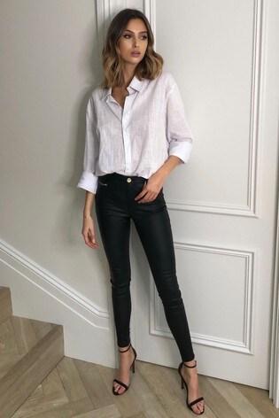 Lipsy Kate Black Coated Mid Rise Skinny Jean