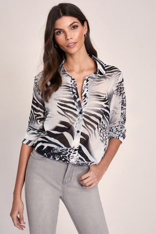 Lipsy Black/White Printed Shirt