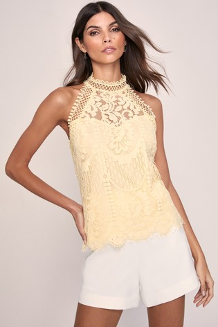 Lipsy VIP Yellow Lace Halterneck Top