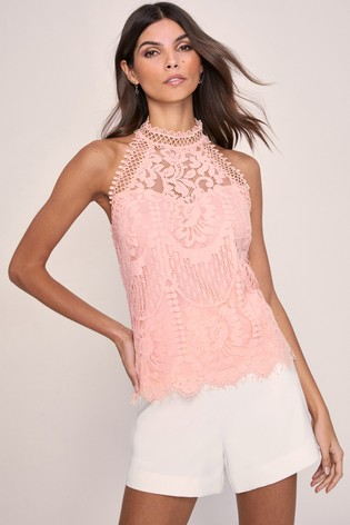 Lipsy VIP Pink Lace Halterneck Top