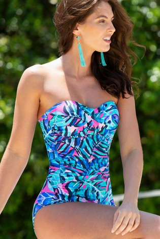 Pour Moi Blue Leaf Santa Monica Removable Straps Control Swimsuit