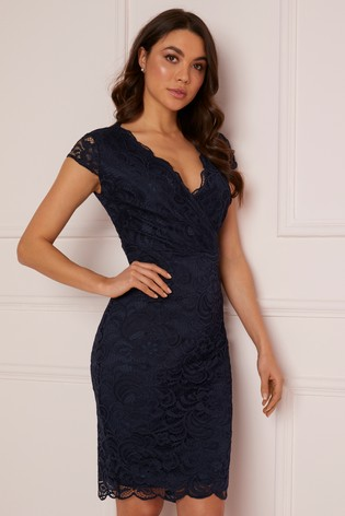 Lipsy Blue Short Sleeve Lace Bodycon Dress