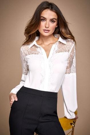 Lipsy White Lace Yoke Shirt
