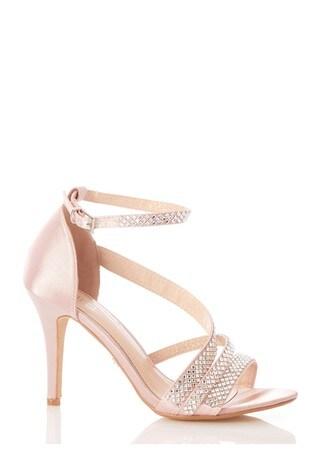 Quiz Pink Satin Asymetric Diamante Strap Heel Sandals