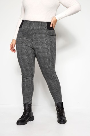 Yours Curve Ponte Roma Check Trousers