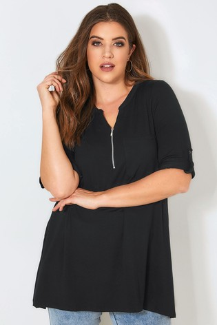 Yours Black Curve Jersey Tunic Shirt