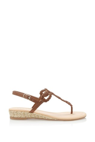 Lipsy Brown Elevated Plaited Sandals