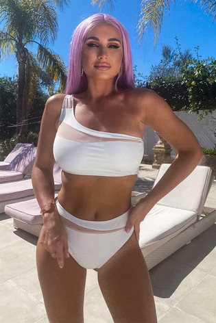 In The Style Billie Faiers Mesh Insert Co-ord Bikini Top