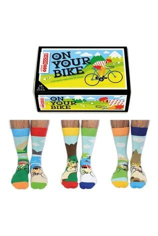 United Odd Socks Blue Adults On Your Bike! Cycling Sock Gift Box
