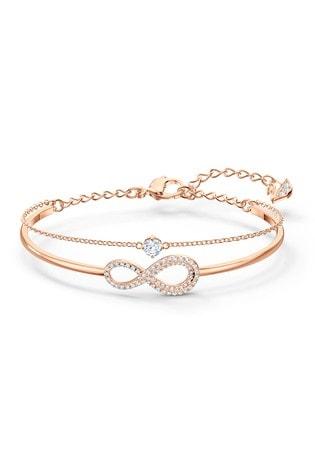 Swarovski Rose Gold Plated Infinity Bangle
