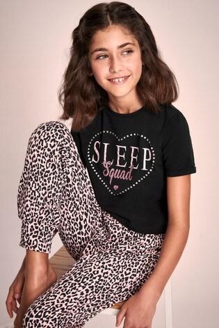 Lipsy Girl Black Animal Print Short Sleeve Long Leg Pyjama Set
