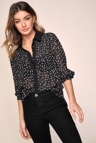 Lipsy Black Polka Dot Regular Printed Shirt