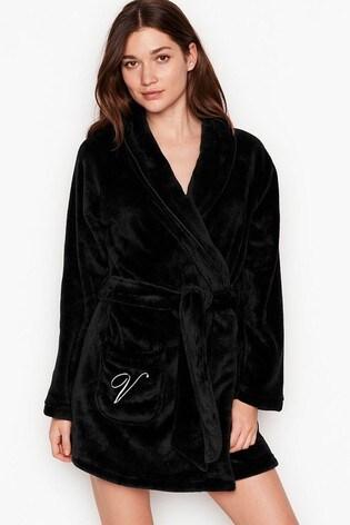 Victoria's Secret Black Logo Short Cozy Robe
