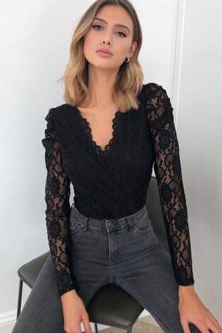 Lipsy Puff Sleeve Lace Bodysuit