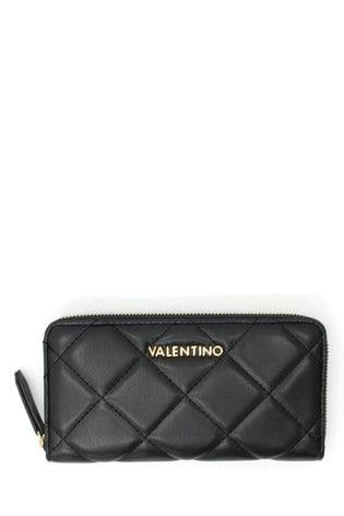 Valentino Bags Black Quilted Zip Around Purse