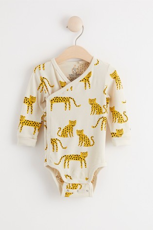 Lindex Baby Cheetah Print Wrap-Over Bodysuit